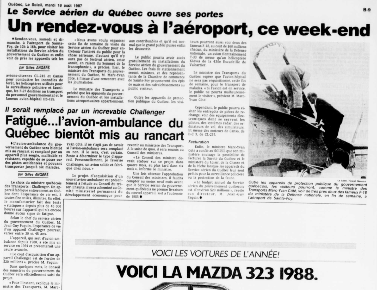 Journal Le Soleil 18 août 1987