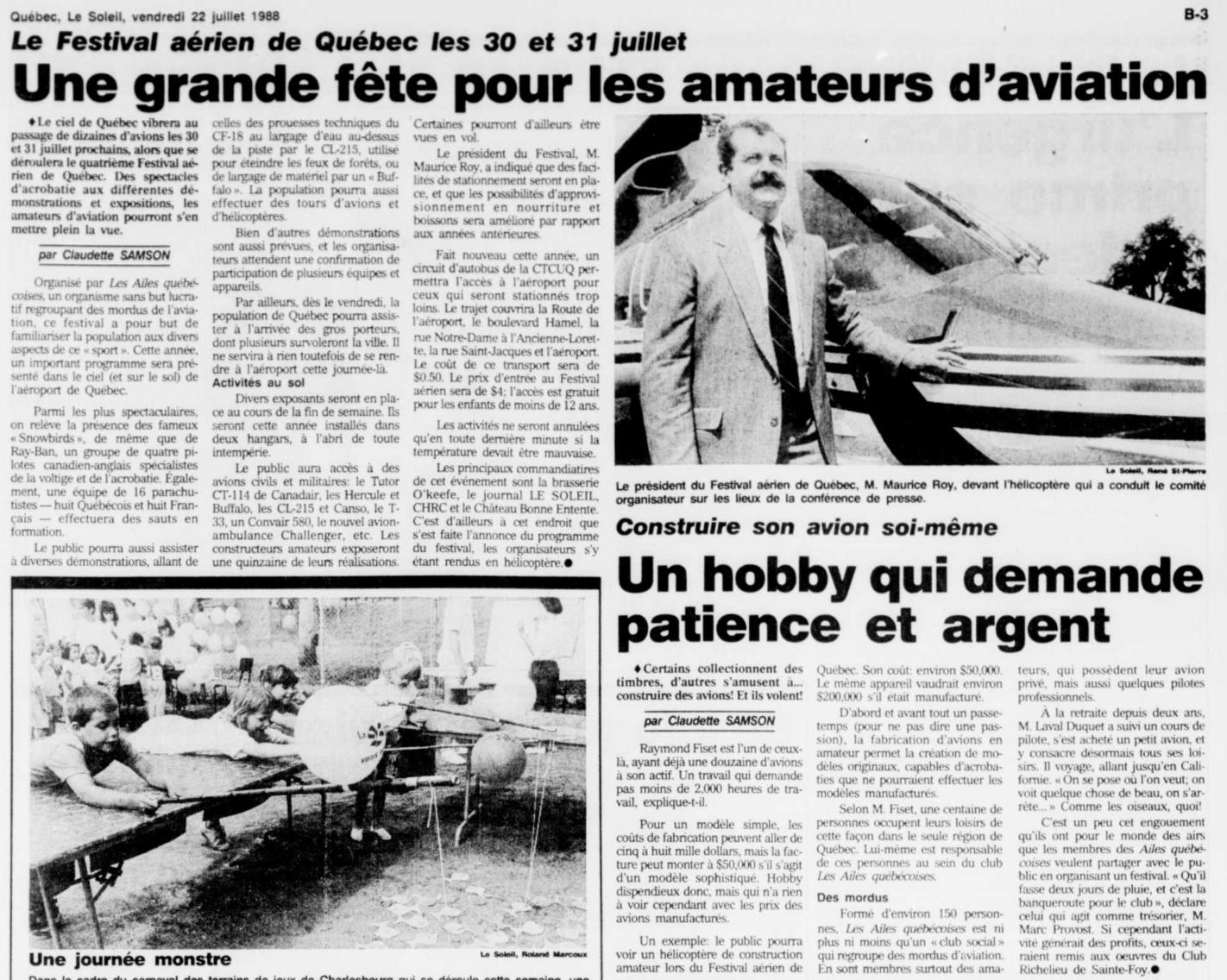 Journal Le Soleil 22 juillet 1988