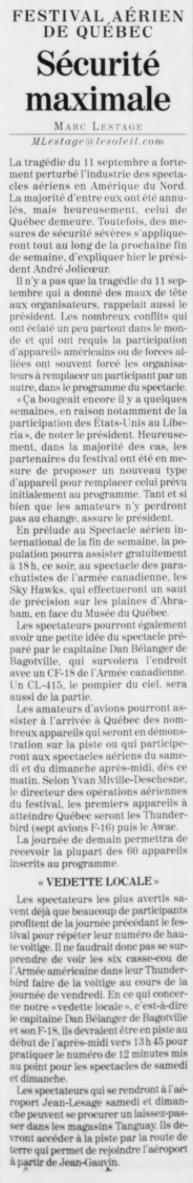 Journal Le Soleil 28 août 2003