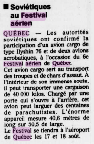 Journal Le Soleil 10 août 1991