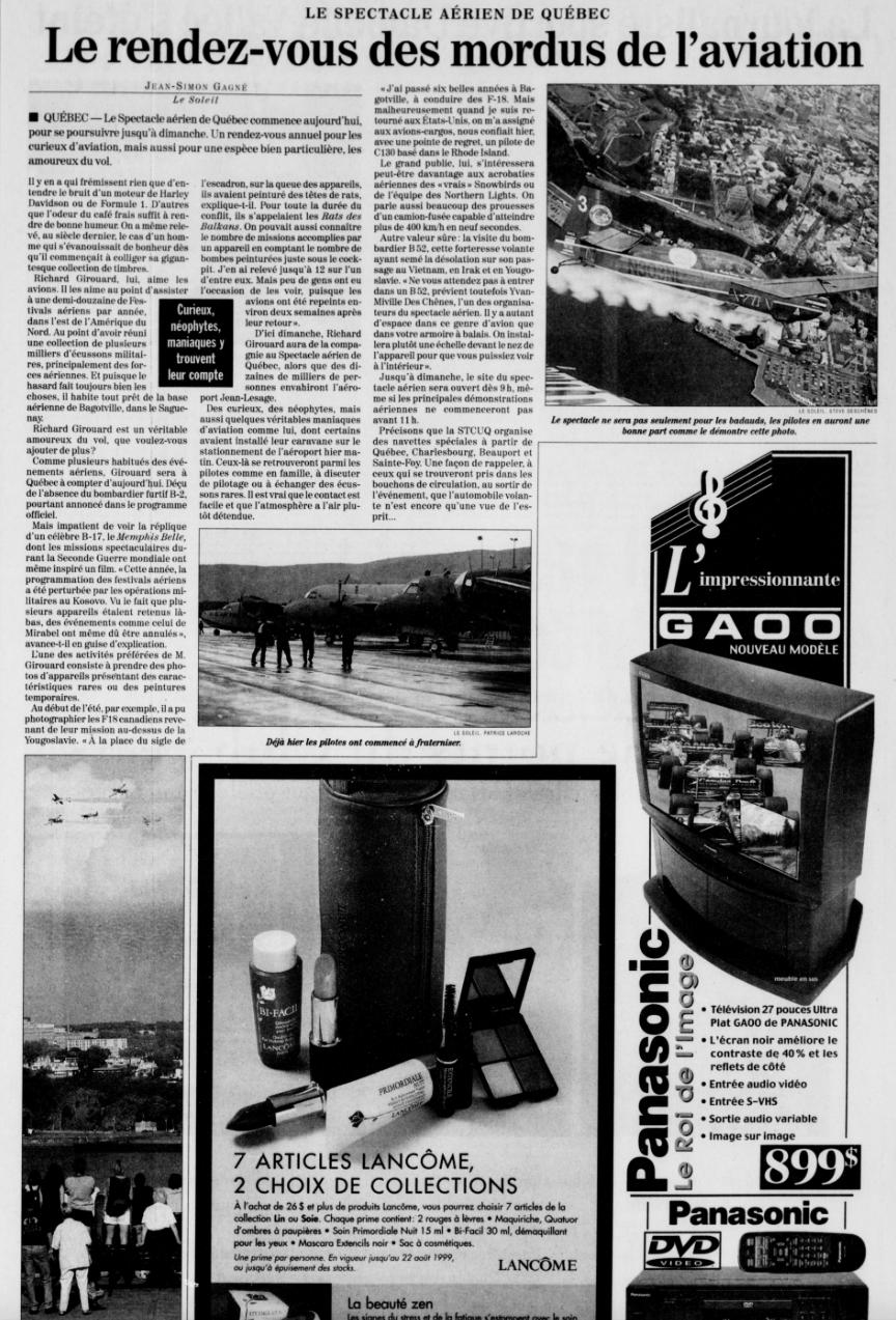 Journal Le Soleil 13 août 1999
