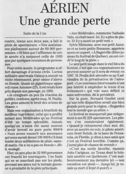 Journal Le Soleil 21 août 1995