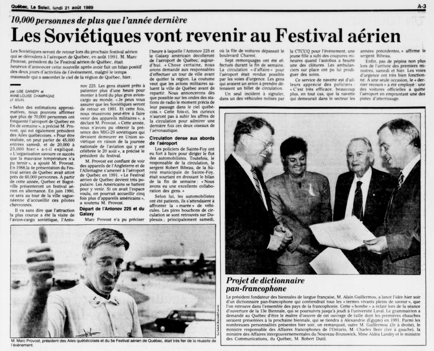 Journal Le Soleil 21 août 1989
