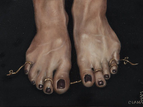 Feet Attached by Gold - Original Painting by Diana Ham