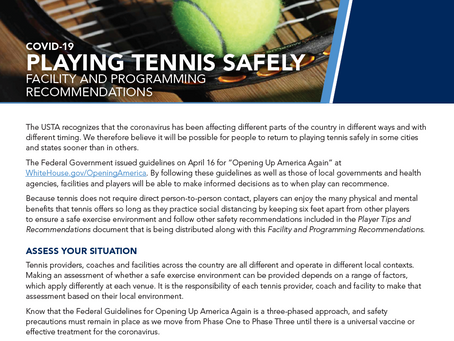 Playing Tennis Safely: Facility and Programming Recommendations