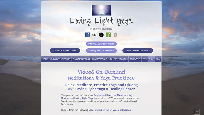 Monthly Video Subscription Website Page Created for Lata and Robert of Loving Light Yoga