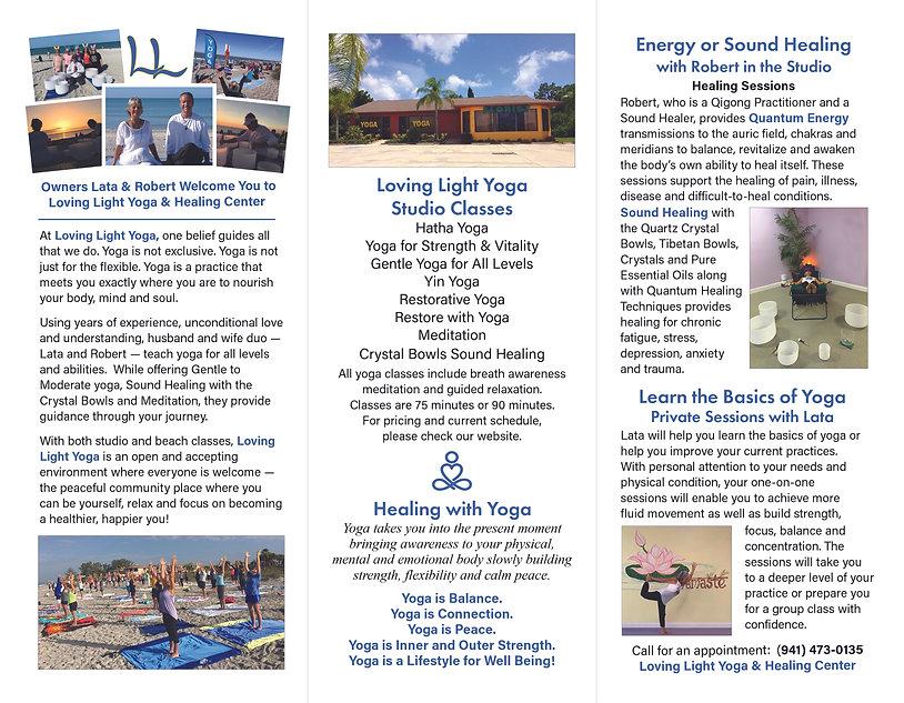 2021 Trifold Brochure (Inside Panels) for Lata's and Robert's Loving Light Yoga Business