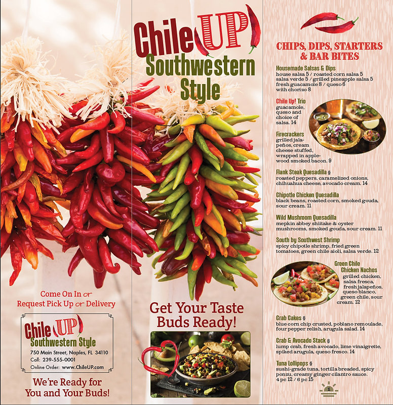 ChileUP! student project – branding, print and responsive web design – six-page menu, outside pages.