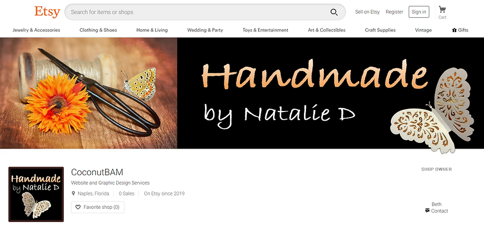 Etsy Shop Banner design using Photoshop for Natalie Duff's Handmade by Natalie D.  Click on image to visit Natalie's Etsy Shop where she sells her paper and yarn crafts.