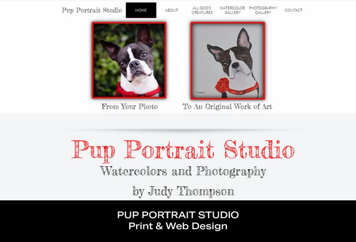 Coconut BAM Productions | Portfolio | Pup Portrait Studio | Print and Web Designs