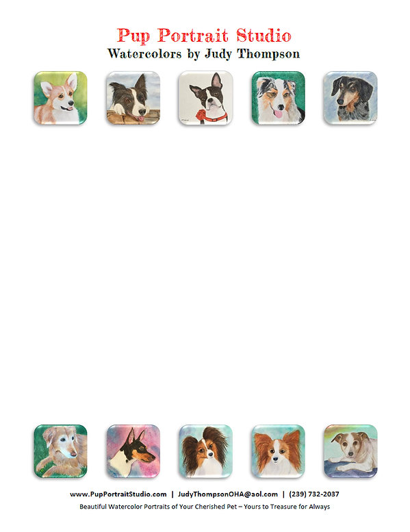 Stationery for Judy Thompson's Pup Portrait Studio.  Click on image to enlarge picture.