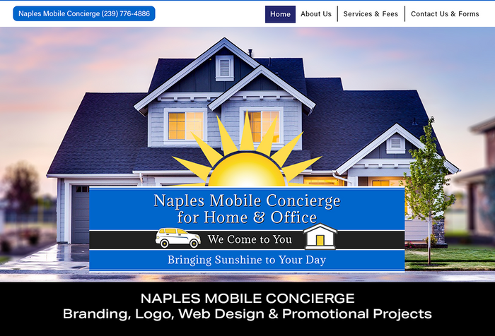 Coconut BAM Productions | Portfolio | Naples Mobile Concierge | Branding, Logo, Web Design and Promotional Projects