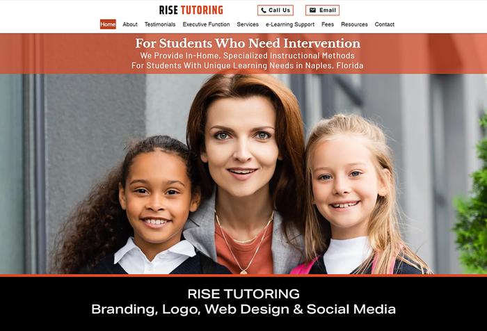 Coconut BAM Productions | Portfolio | RISE TUTORING | Branding, Logo, Web Design and Social Media