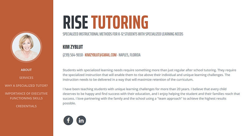 RISE Tutoring website created by a web developer and used for branding Kim's marketing materials.