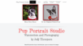 Home page of Judy Thompson's Pup Portrait Studio website.  Click on image to visit her site.