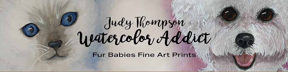 Etsy Shop banner design using Photoshop for Judy Thompson's Watercolor Addict Fur Babies Collection.