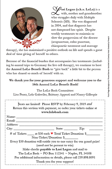 Invitation for Lori Legan's 14th Annual LoLo Bash fundraising event, back cover.  Click image to enlarge picture.