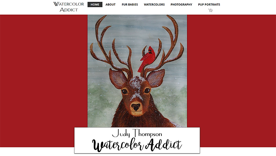 Home page of Judy Thompson's Watercolor Addict website.  Click on image to visit her site.