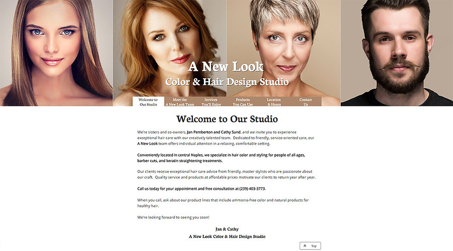 Home page for Jan Pemberton's and Cathy Sund's A New Look Color and Hair Design Studio website.  Click on image to visit their site.