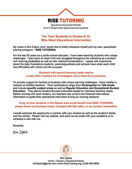 RISE Tutoring flyer and Kim Zyblut's introduction letter, back side.