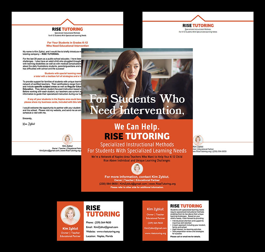 RISE Tutoring flyer, introduction letter and business card mailed to Kim Zyblut's target audience.