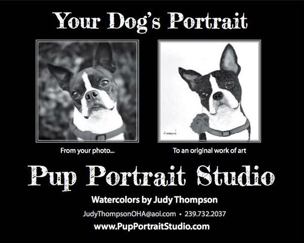 Black and white magazine advertisement for Judy Thompson's Pup Portrait Studio.  Click on image to enlarge picture.