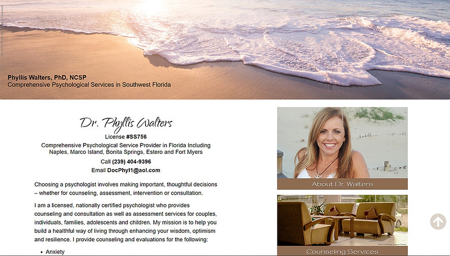 Home page for Dr. Phyllis Walters's private psychology practice website.  Click on image to visit her site.