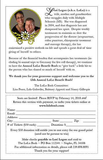 Invitation for Lori Legan's 13th Annual LoLo Bash fundraising event, back cover.  Click image to enlarge picture.