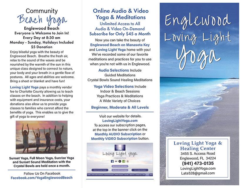 2021 Trifold Brochure (Outside Panels) for Lata's and Robert's Loving Light Yoga Business