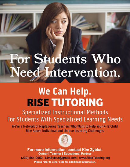 RISE Tutoring flyer and Kim Zyblut's introduction letter, front side.
