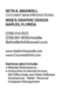 Business card, back side, for Beth A. Maxwell of Coconut BAM Productions.   Click on image to enlarge picture.