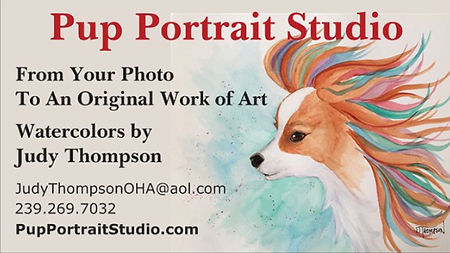 Business card, back side, for Judy Thompson's Pup Portrait Studio.  Click on image to enlarge picture.