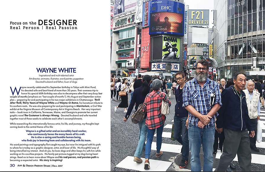 Designer Study student project – research, writing and print design – original article and special magazine section.