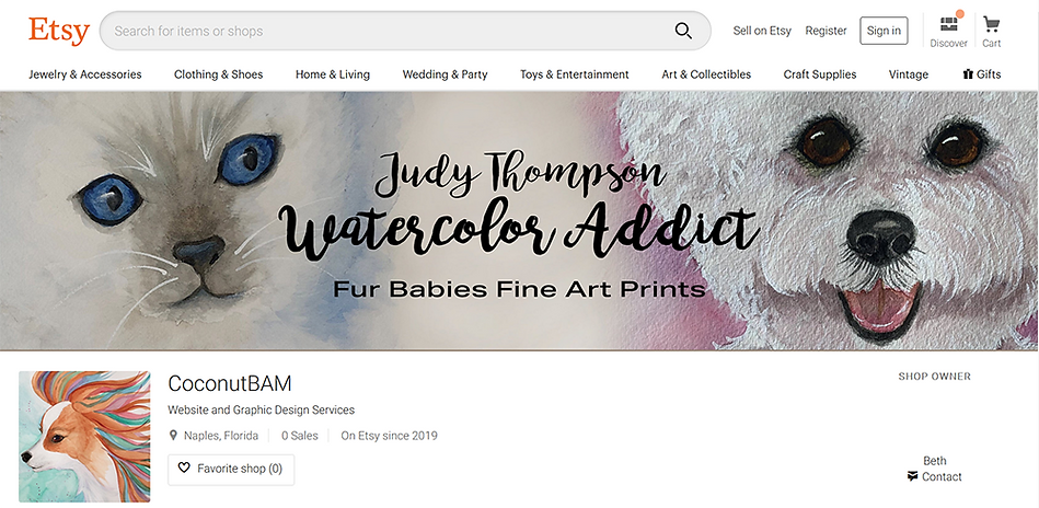 Etsy Shop Banner design using Photoshop for Judy Thompson's Watercolor Addict.  Click on image to visit Judy's Etsy Shop where she sells fine art prints of her Fur Babies collection.