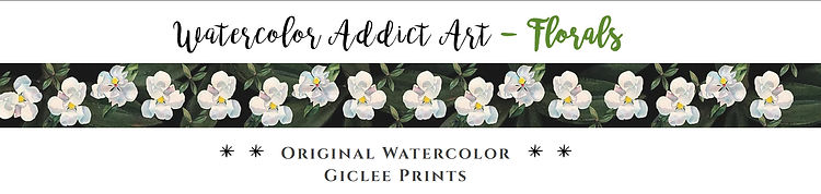 "Watercolor Addict Website Page Banner   ""Florals"" Strip Design"