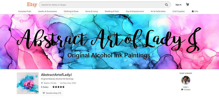 Abstract Art of Lady J Etsy Shop Banner   New Design