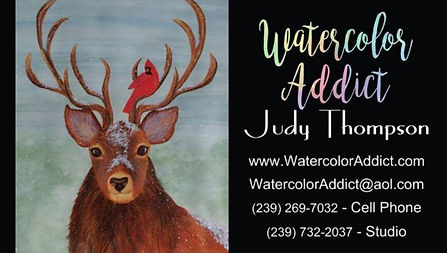 Standard business card, back side, for Judy Thompson's Watercolor Addict studio.  Click on image to enlarge picture.