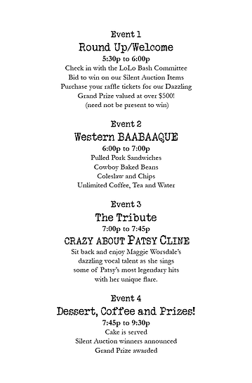 Invitation for Lori Legan's 14th Annual LoLo Bash fundraising event, third page.  Click image to enlarge picture.