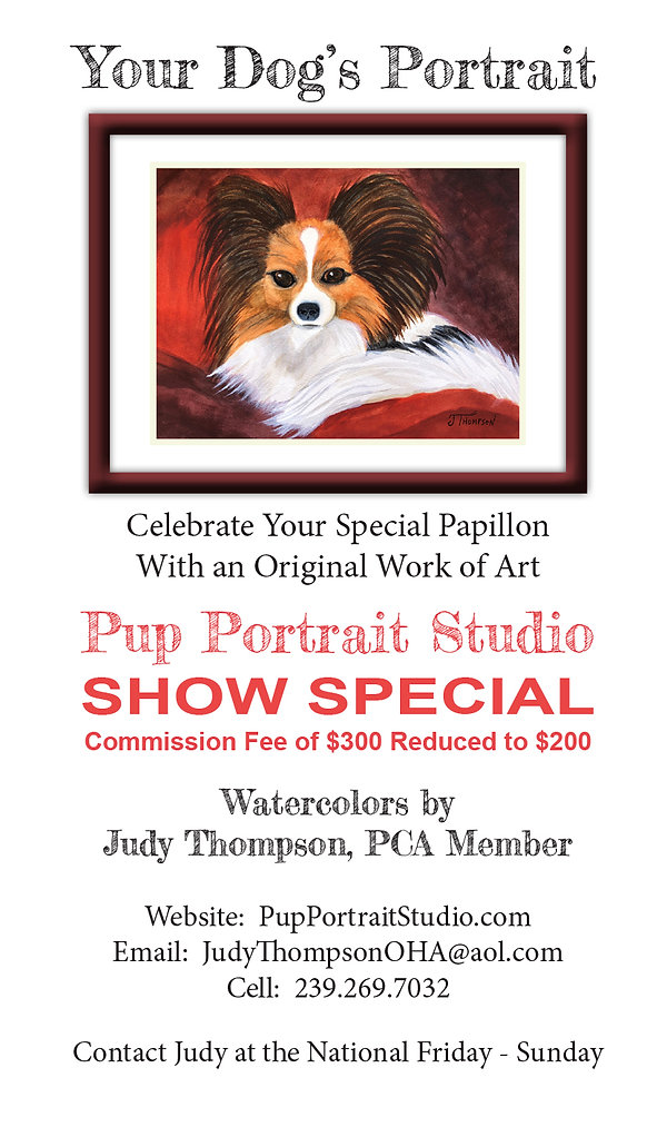 Color catalog print ad for Judy Thompson's Pup Portrait Studio.  Click on image to enlarge picture.