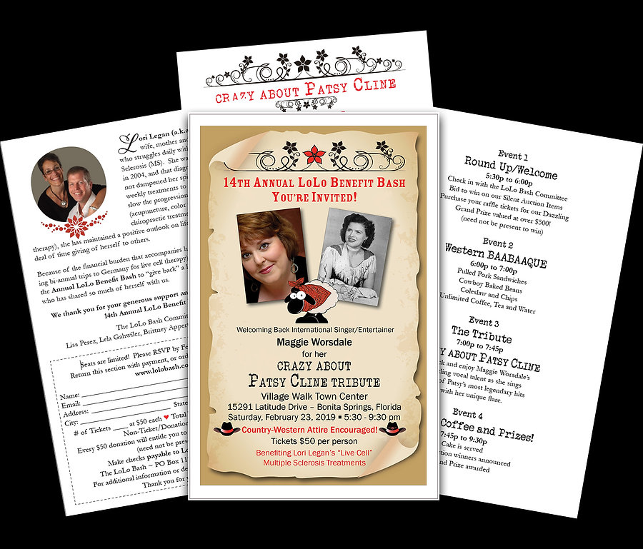 Invitation for Lori Legan's 14th Annual LoLo Bash fundraising event.  Click on image to visit her website and to learn about her journey with Multiple Sclerosis.