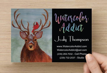 Large business card, back side, for Judy Thompson's Watercolor Addict studio.  Click on image to enlarge picture.