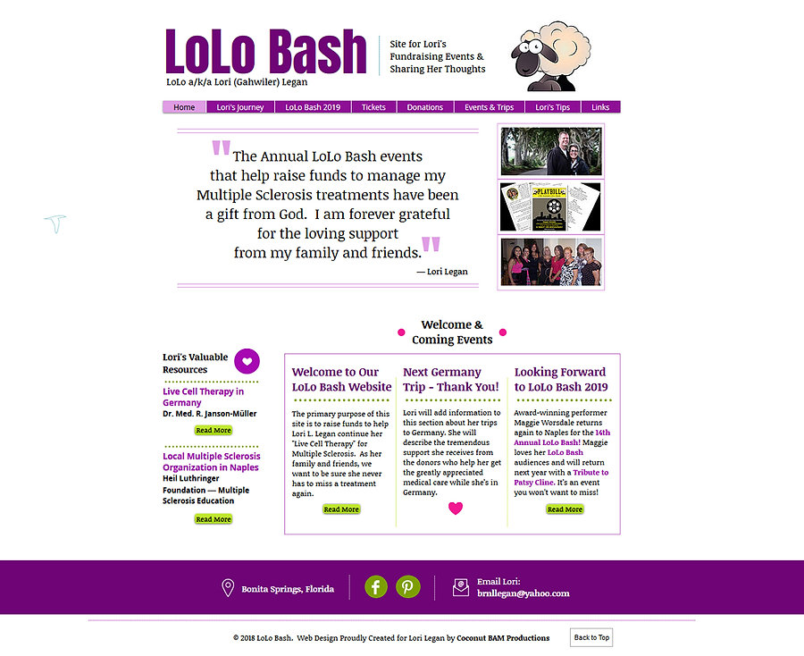 Home page for Lori Legan's new LoLo Bash website.  Click on image to visit her site.