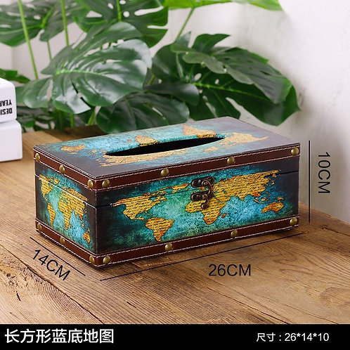 Tissue Box Ocean World Map