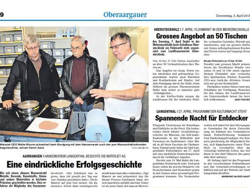 Hansenvereins Langenthal Besuch bei Waterjet