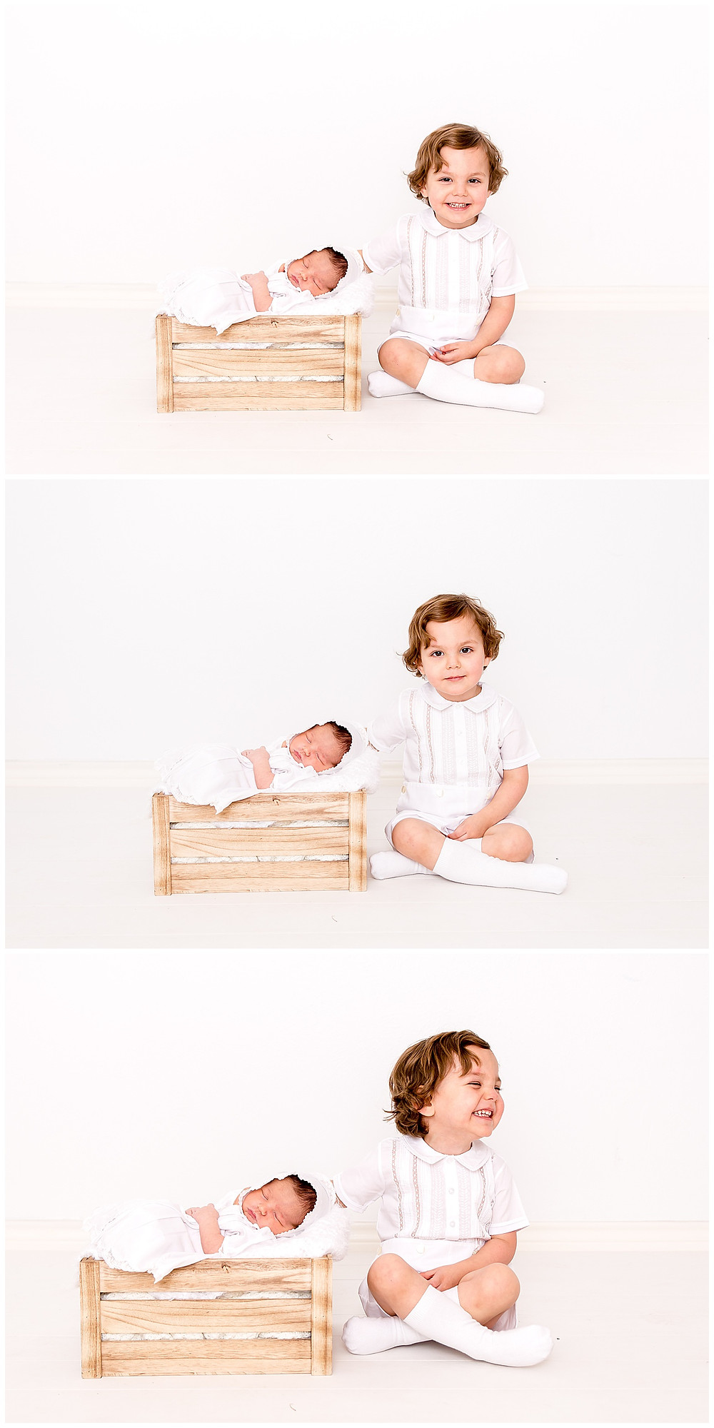 newborn photography with toddler sibling