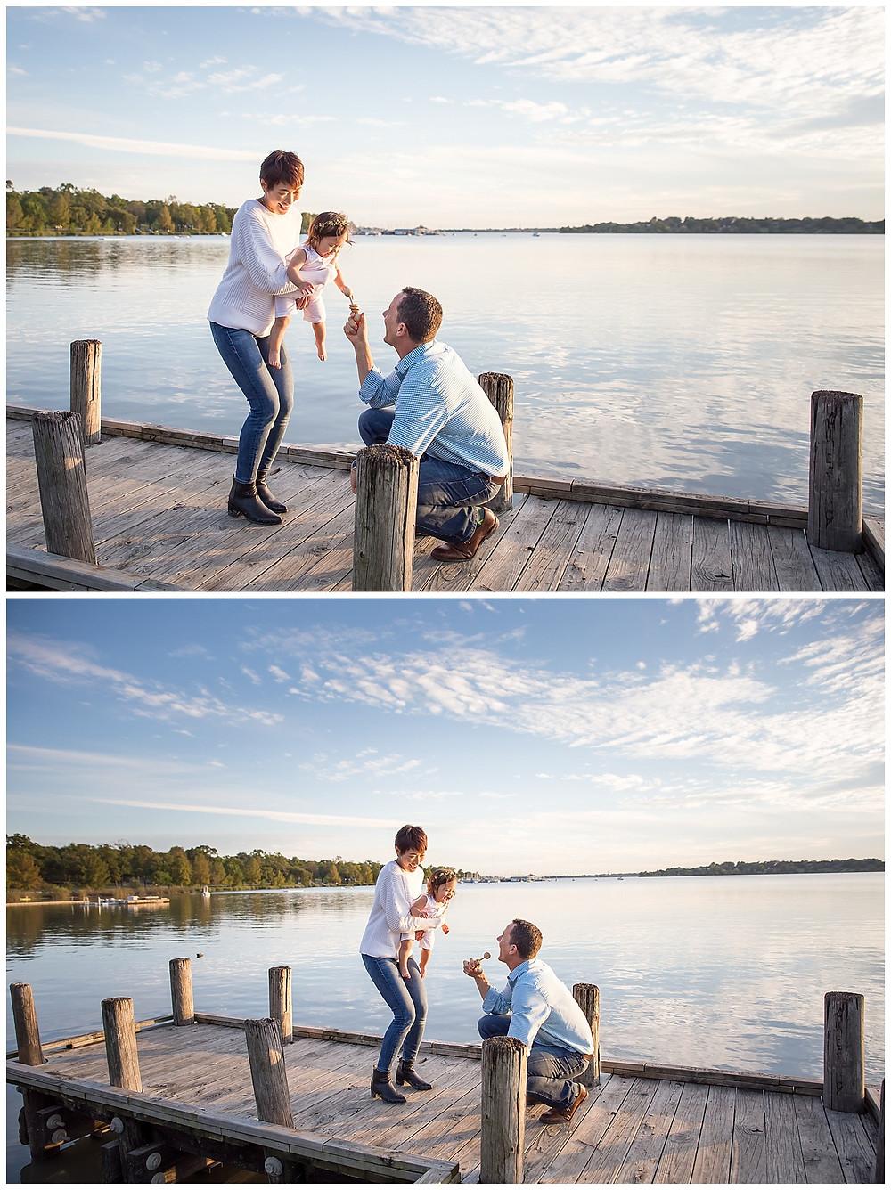 fun lake family photo session