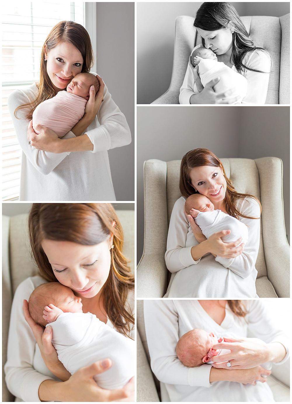 portraits of newborn and Mom