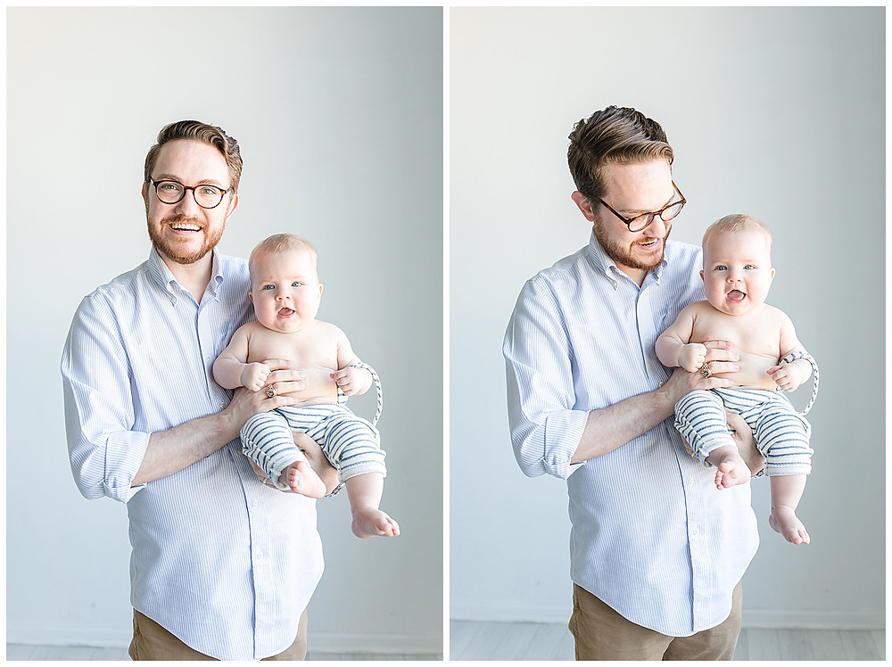 father and son family photo posing