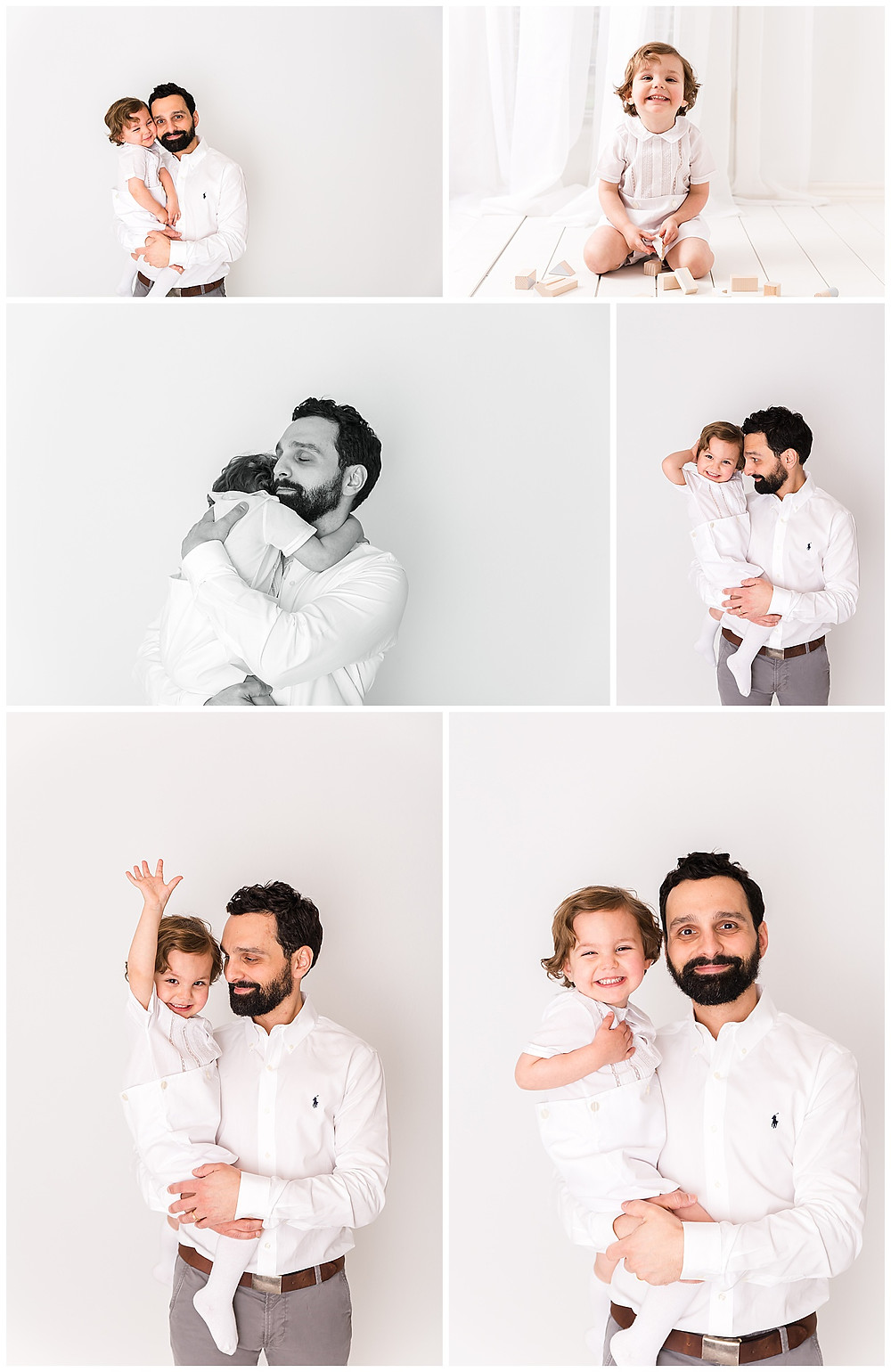 father and son newborn posing