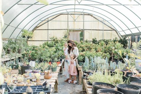 family photo in Houston greenhouse